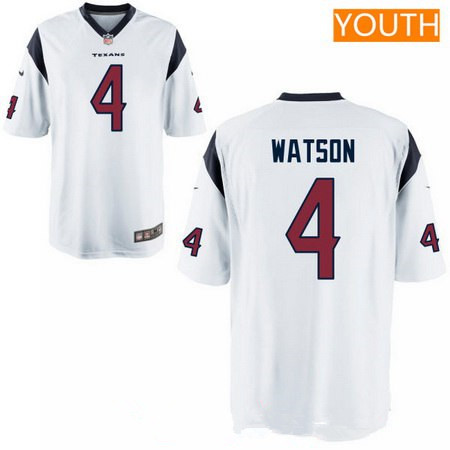 Youth 2017 NFL Draft Houston Texans #4 Deshaun Watson White Road Stitched NFL Nike Game Jersey