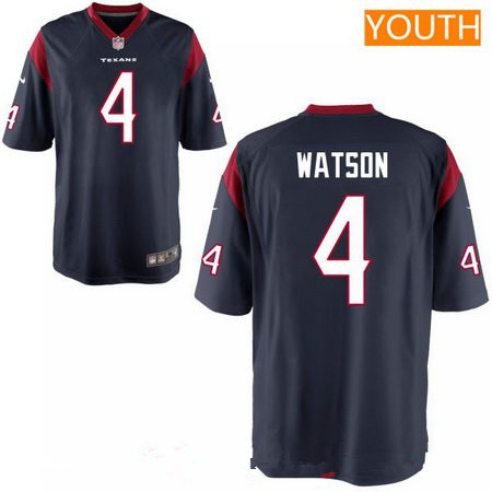 Youth 2017 NFL Draft Houston Texans #4 Deshaun Watson Navy Blue Alternate Stitched NFL Nike Game Jersey
