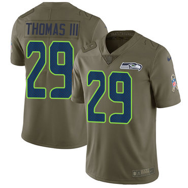 Nike Seattle Seahawks #29 Earl Thomas III Olive Men's Stitched NFL Limited 2017 Salute to Service Jersey