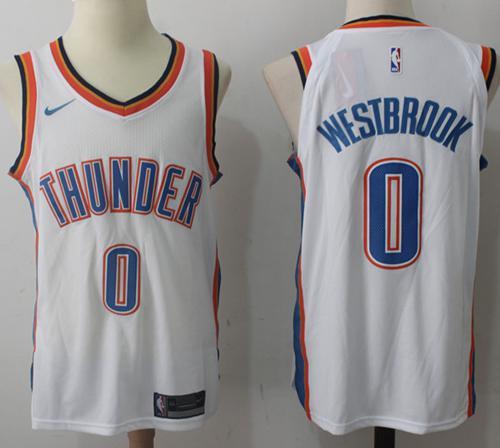 Nike Oklahoma City Thunder #0 Russell Westbrook White Stitched NBA Jersey