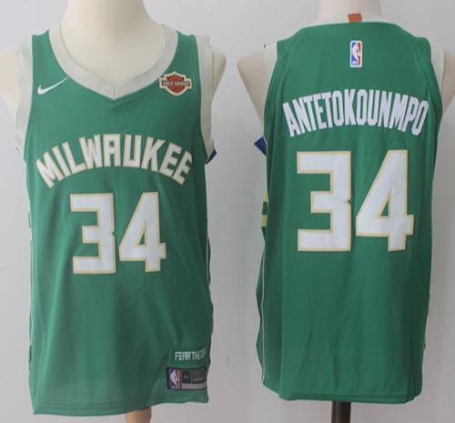 48c691a0e45 Nike Milwaukee Bucks #34 Giannis Antetokounmpo Green Stitched NBA Jersey