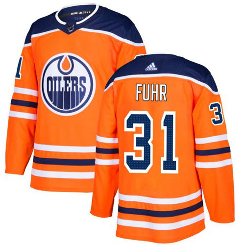 Adidas Edmonton Oilers #31 Grant Fuhr Orange Home Authentic Stitched NHL Jersey