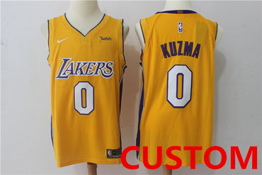 online retailer 5b1ca fbd82 Custom Men's Los Angeles Lakers New Yellow 2017-2018 Nike ...