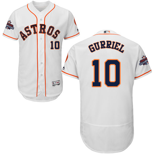 Men's Houston Astros #10 Yuli Gurriel White Flexbase Authentic Collection 2017 World Series Champions Stitched MLB Jersey