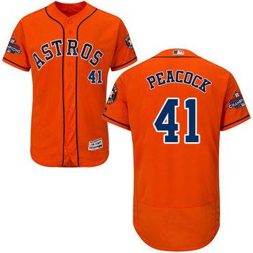 Men's Houston Astros #41 Brad Peacock Orange Flexbase Authentic Collection 2017 World Series Champions Stitched MLB Jersey