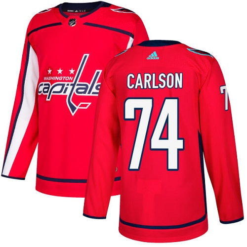 Adidas Capitals #74 John Carlson Red Home Authentic Stitched NHL Jersey