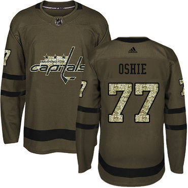 Adidas Capitals #77 T. J. Oshie Green Salute to Service Stitched Youth NHL Jersey