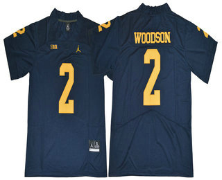 Men's Michigan Wolverines #2 Charles Woodson Navy Blue 2017 College Football Stitched Brand Jordan NCAA Jersey