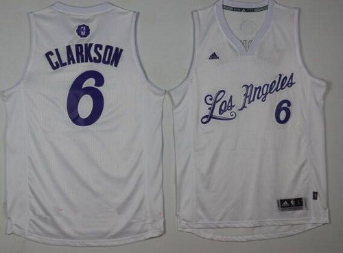 4512b6a35 Men s Los Angeles Lakers  6 Jordan Clarkson Adidas White 2016 Christmas Day  Stitched NBA Swingman Jersey