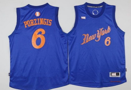 ed1c30b0309 Men's New York Knicks #6 Kristaps Porzingis Adidas Royal Blue 2016  Christmas Day Stitched NBA Swingman Jersey