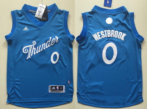 eb2ee4d1405 Youth Oklahoma City Thunder #0 Russell Westbrook adidas Blue 2016 Christmas  Day Stitched NBA Swingman