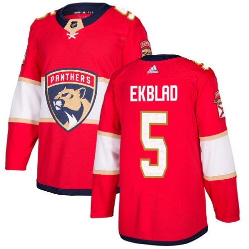 Adidas Panthers #5 Aaron Ekblad Red Home Authentic Stitched NHL Jersey