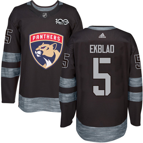 Adidas Panthers #5 Aaron Ekblad Black 1917-2017 100th Anniversary Stitched NHL Jersey
