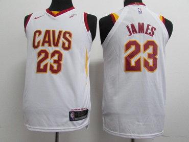 Nike Cavaliers #23 LeBron James White Stitched Youth NBA Swingman Jersey