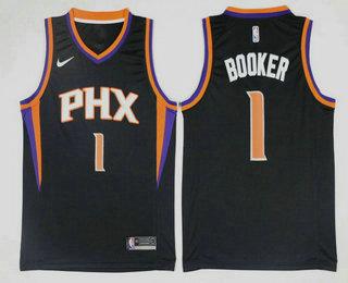 01635943b Men s Phoenix Suns  1 Devin Booker Black 2017-2018 Nike Icon Edition  Swingman Jersey
