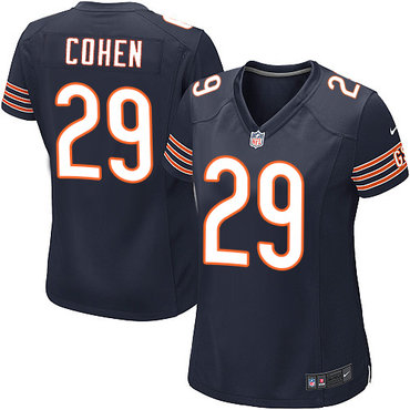 NFL Women's Chicago Bears #29 Tarik Cohen Navy Blue Game Jersey