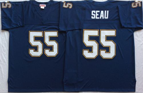 Mitchell And Ness 1994 Chargers #55 Junior Seau Navy Blue Throwback Stitched NFL Jersey
