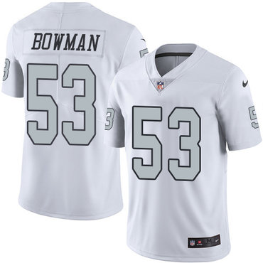 Nike Raiders #53 NaVorro Bowman White Men's Stitched NFL Limited Rush Jersey