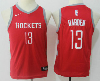 Youth Houston Rockets #13 James Harden New Red 2017-2018 Nike Swingman Stitched NBA Jersey