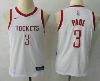 Youth Houston Rockets #3 Chris Paul New White 2017-2018 Nike Swingman Stitched NBA Jersey