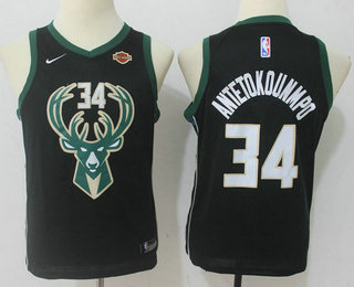 san francisco 64e7c 3136b Youth Milwaukee Bucks #34 Giannis Antetokounmpo Black 2017 ...