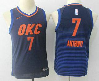 Youth Oklahoma City Thunder #7 Carmelo Anthony Navy Blue 2017-2018 Nike Swingman Stitched NBA Jersey
