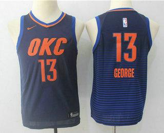 Youth Oklahoma City Thunder #13 Paul George Navy Blue 2017-2018 Nike Swingman Stitched NBA Jersey