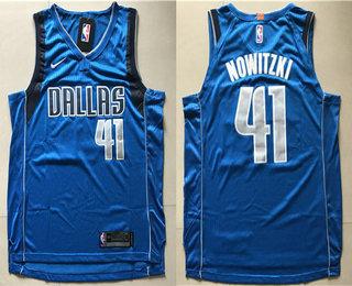 d376ab3f276 Men's Dallas Mavericks #41 Dirk Nowitzki New Blue 2017-2018 Nike Swingman  Wish Stitched NBA Jersey