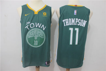 Warriors 11 Klay Thompson Green Nike Authentic Jersey