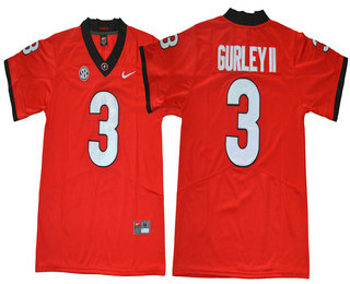 d1b602ee4 Men s Georgia Bulldogs  3 Todd Gurley II Red Limited 2017 College Football  Stitched Nike NCAA