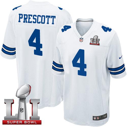 the best attitude a66d2 5a357 Nike Cowboys #4 Dak Prescott White Stitched NFL Super Bowl ...