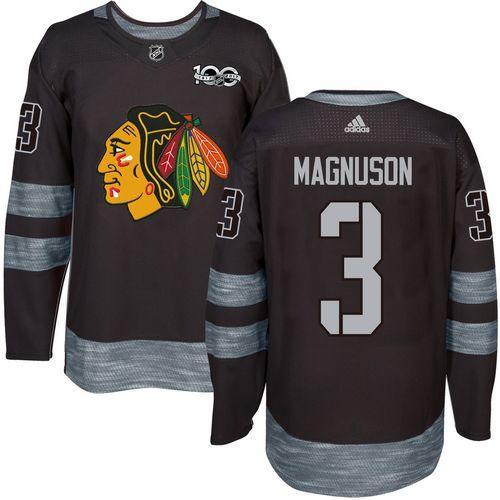 Blackhawks #3 Keith Magnuson Black 1917-2017 100th Anniversary Stitched NHL Jersey