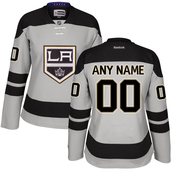 Women s Los Angeles Kings Gray Alternate Custom Stitched NHL Reebok Hockey  Jersey 88db22c55