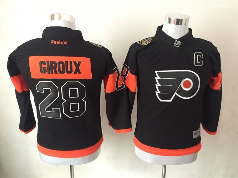 Flyers 28 Claude Giroux Black Youth Reebok Jersey
