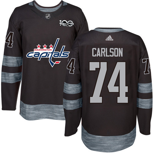 Men's Washington Capitals #74 John Carlson Black 100th Anniversary Stitched NHL 2017 adidas Hockey Jersey