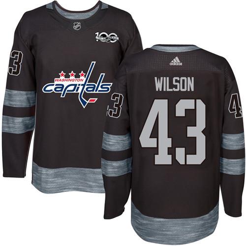 004e96ac2 Men's Washington Capitals #43 Tom Wilson Black 100th Anniversary Stitched  NHL 2017 adidas Hockey Jersey