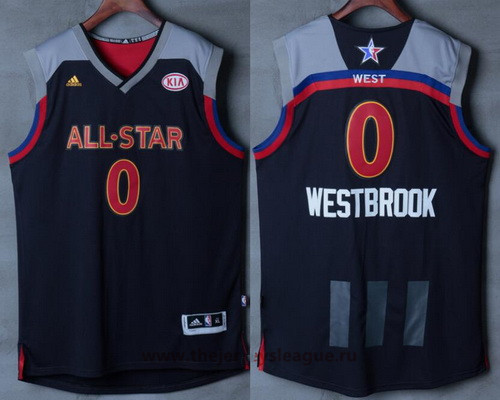 Men's Western Conference Oklahoma City Thunder #0 Russell Westbrook adidas Black Charcoal 2017 NBA All-Star Game Swingman Jersey