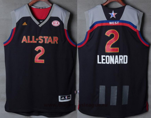 Men's Western Conference San Antonio Spurs #2 Kawhi Leonard adidas Black Charcoal 2017 NBA All-Star Game Swingman Jersey