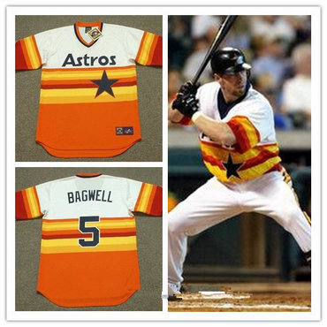 half off 6e060 235f1 Men's Houston Astros #5 Jeff Bagwell Rainbow 1980 Throwback ...