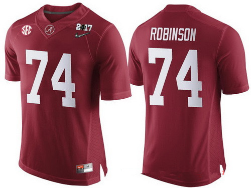 Men's Alabama Crimson Tide #74 Cam Robinson Red 2017 Championship Game Patch Stitched CFP Nike Limited Jersey