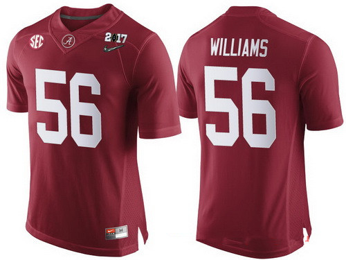 bf1995cced1 Men's Alabama Crimson Tide #56 Tim Williams Red 2017 Championship Game  Patch Stitched CFP Nike
