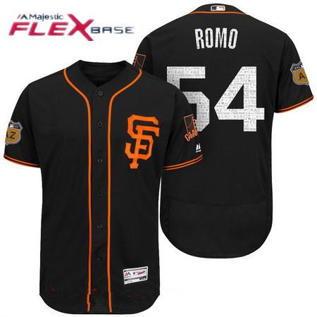 Men's San Francisco Giants #54 Sergio Romo Black 2017 Spring Training Stitched MLB Majestic Flex Base Jersey