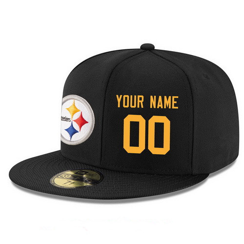 Pittsburgh Steelers Custom Snapback Cap NFL Player Black with Gold Number Stitched Hat