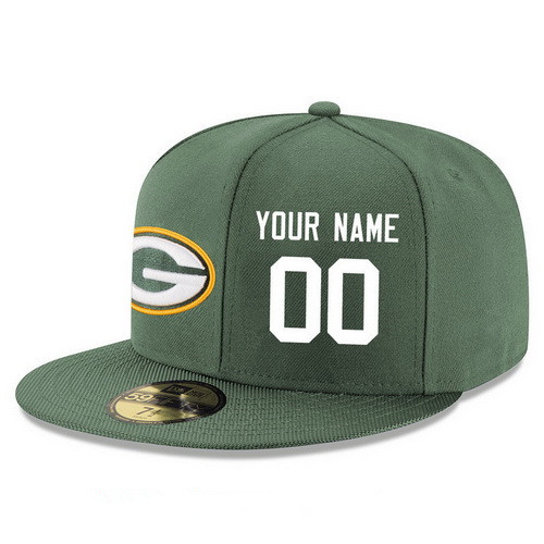 Green Bay Packers Custom Snapback Cap NFL Player Green with White Number Stitched Hat