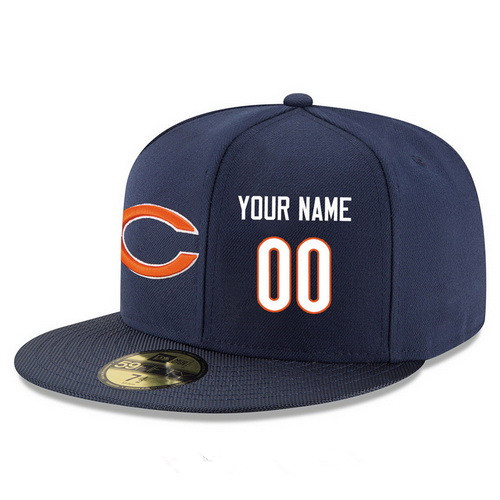 Chicago Bears Custom Snapback Cap NFL Player Navy Blue with White Number Stitched Hat