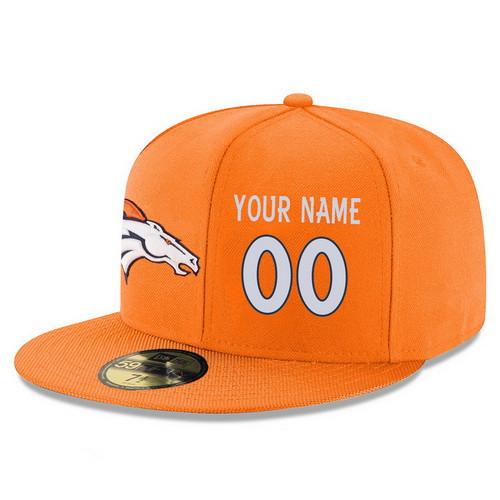 eaa77614fec Denver Broncos Custom Snapback Cap NFL Player Orange with White Number  Stitched Hat