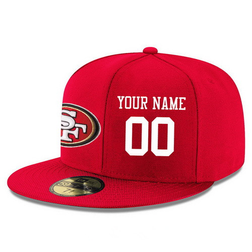 San Francisco 49ers Custom Snapback Cap NFL Player Red with White Number Stitched Hat