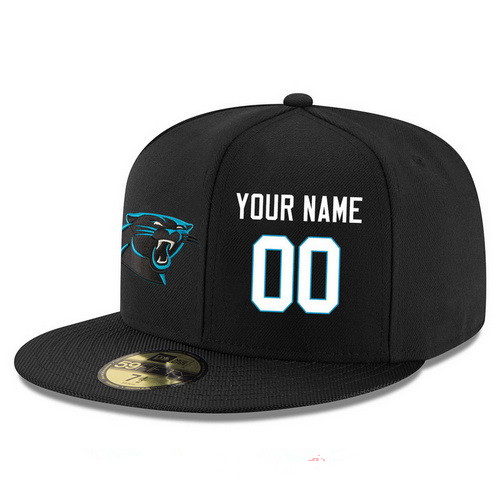 Carolina Panthers Custom Snapback Cap NFL Player Black with White Number Stitched Hat