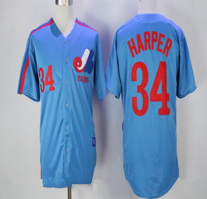 Men's Montreal Expos #34 Bryce Harper Majestic 1982 Royal Blue Stitched MLB Cooperstown Collection Jersey