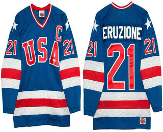 Men's 1980 Olympics USA #21 Mike Eruzione Royal Blue Throwback Stitched Vintage Ice Hockey Jersey